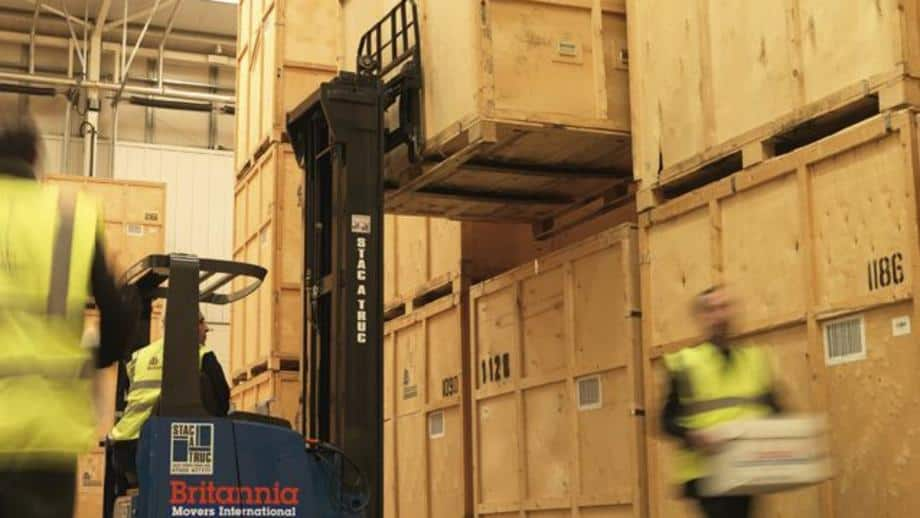 forklift truck operating during house removal