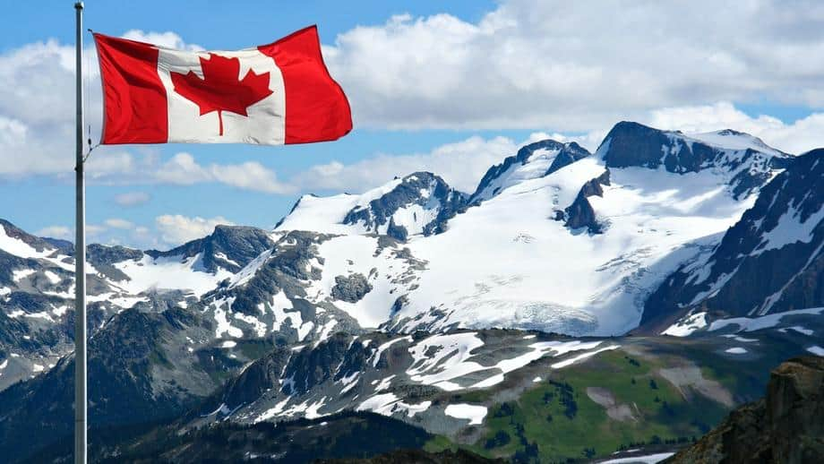 Canada Flag in the mountains