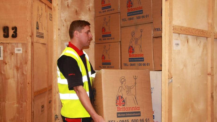 Britannia Fleet staff in storage warehouse